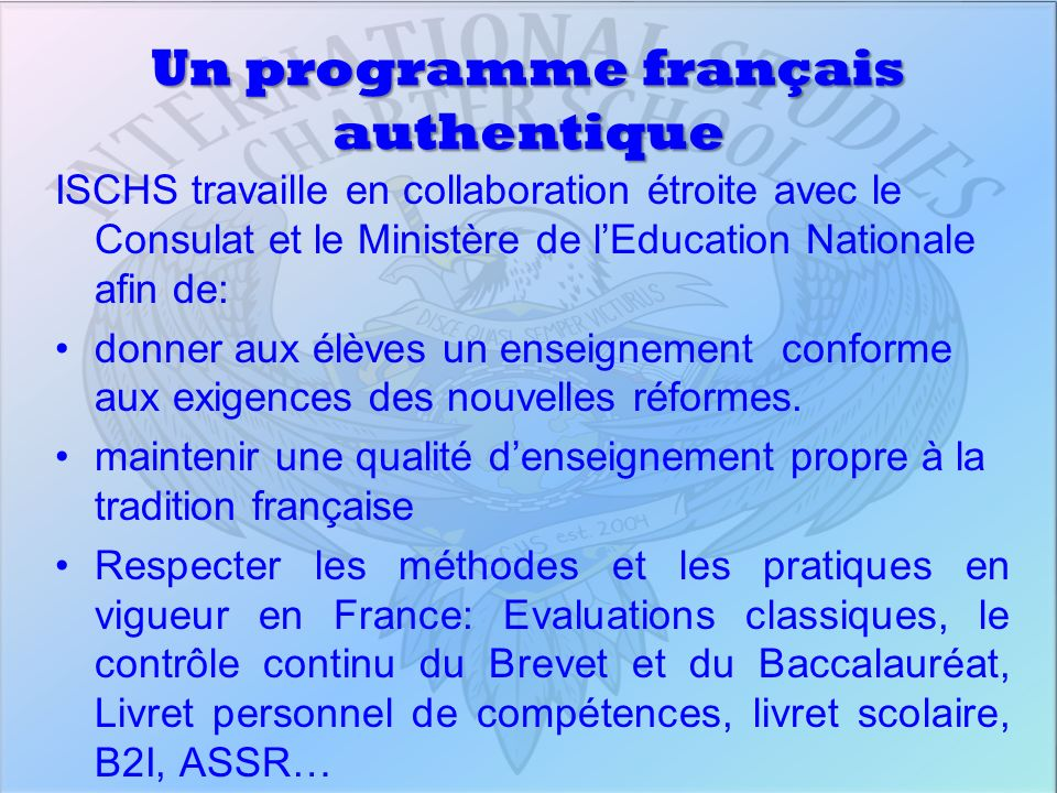 Un programme français authentique