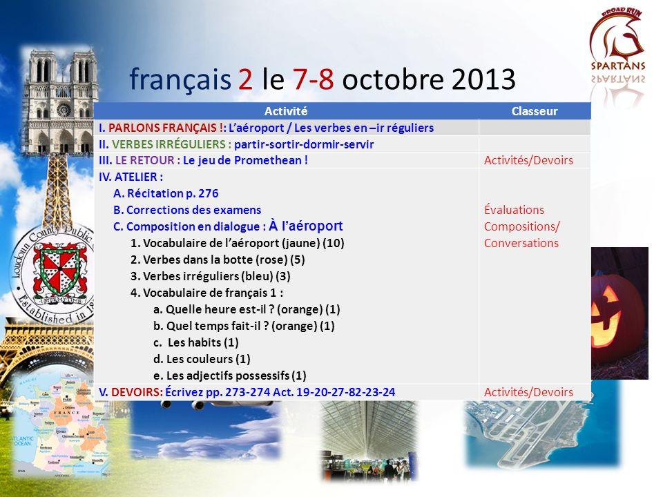 français 2 le 7-8 octobre 2013 Activité Classeur