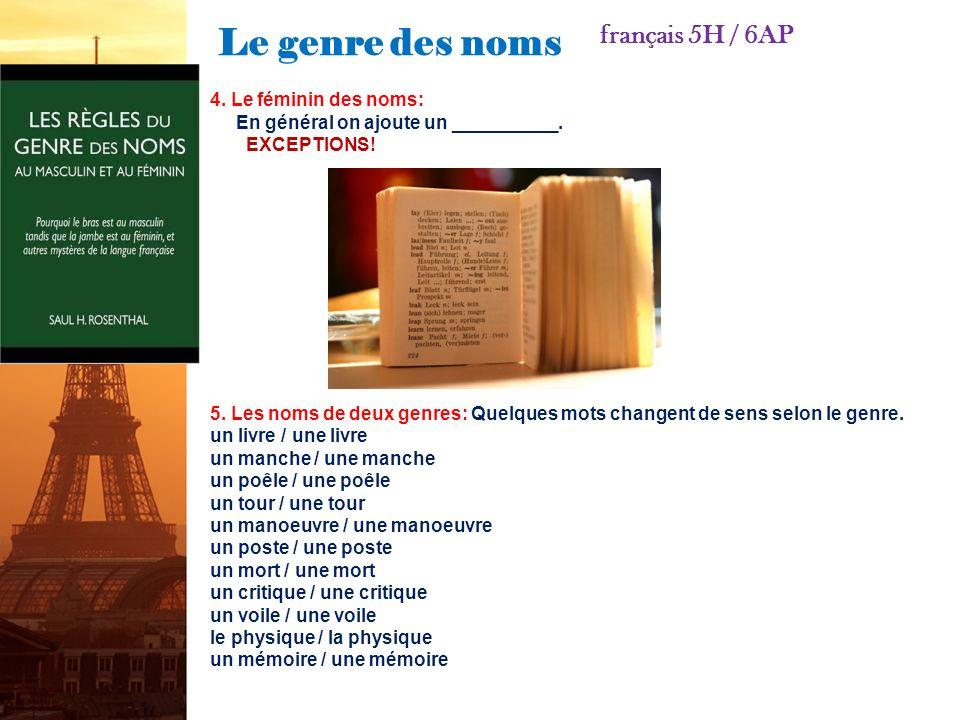 Le genre des noms français 5H / 6AP 4. Le féminin des noms: