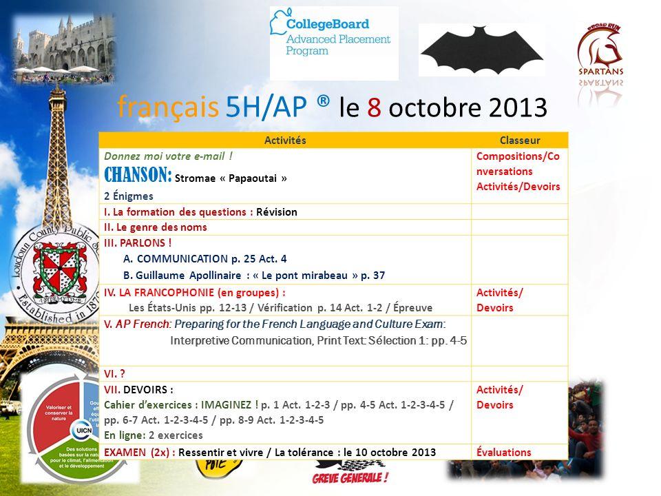 français 5H/AP ® le 8 octobre 2013
