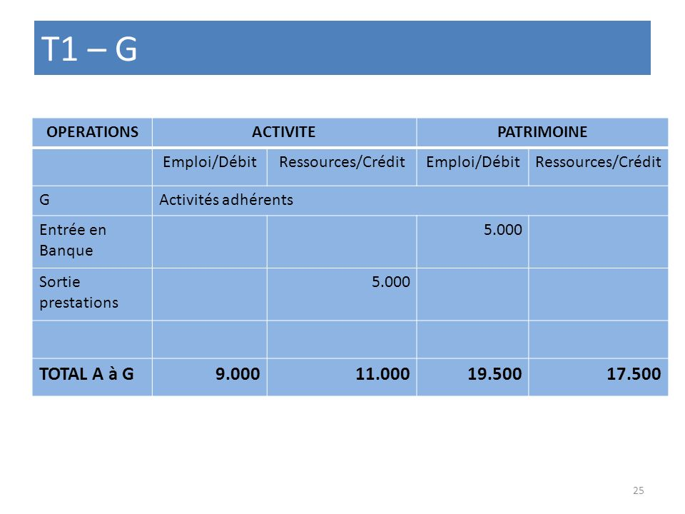 T1 – G TOTAL A à G 9.000 11.000 19.500 17.500 OPERATIONS ACTIVITE