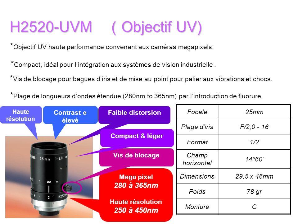 H2520-UVM (Objectif UV) *Objectif UV haute performance convenant aux caméras megapixels. Haute résolution.
