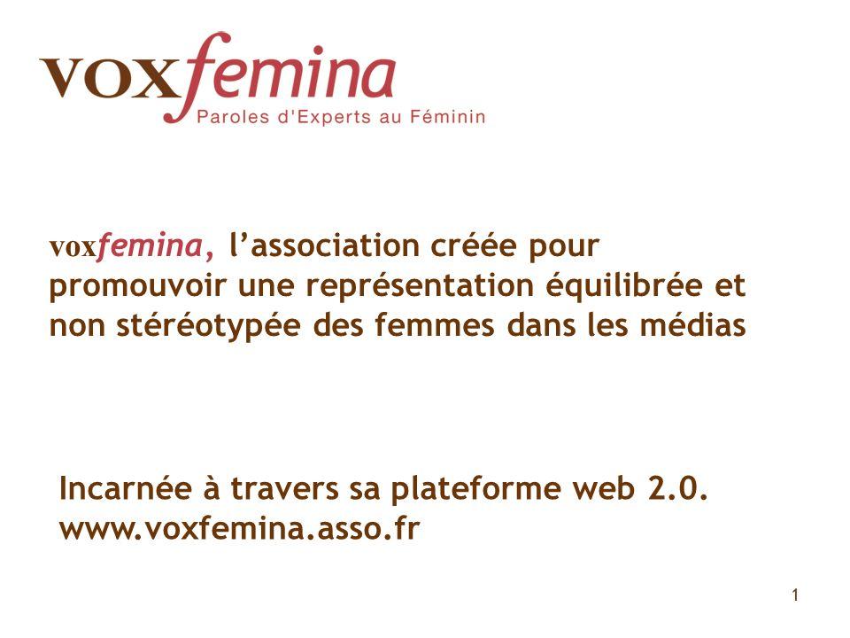 voxfemina, l'association créée pour promouvoir une représentation équilibrée et non stéréotypée des femmes dans les médias
