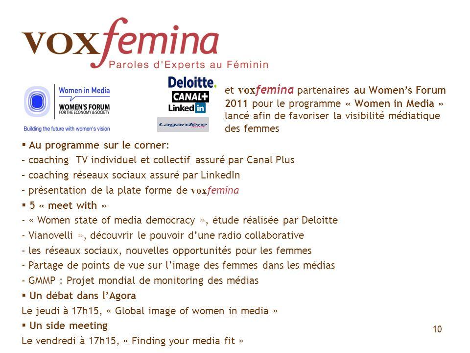 et voxfemina partenaires au Women's Forum 2011 pour le programme « Women in Media » lancé afin de favoriser la visibilité médiatique des femmes