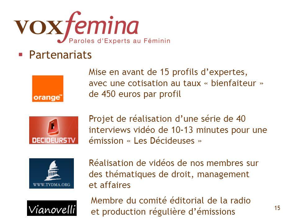 Partenariats Mise en avant de 15 profils d'expertes, avec une cotisation au taux « bienfaiteur » de 450 euros par profil.