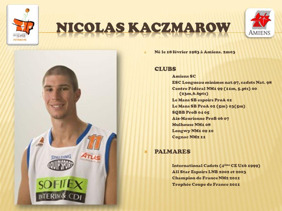 Nicolas kaczmarow CLUBS PALMARES Né le 18 février 1983 à Amiens. 2m03
