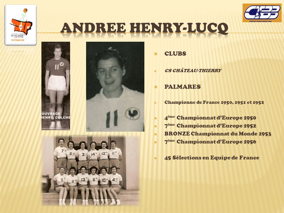 ANDREE HENRY-LUCQ CLUBS PALMARES 4ème Championnat d'Europe 1950