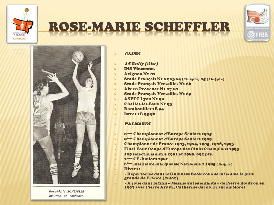 ROSE-MARIE SCHEFFLER CLUBS AS Rully (Oise) INS Vincennes Avignon N2 81