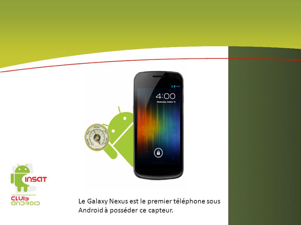 Le Galaxy Nexus est le premier téléphone sous Android à posséder ce capteur.