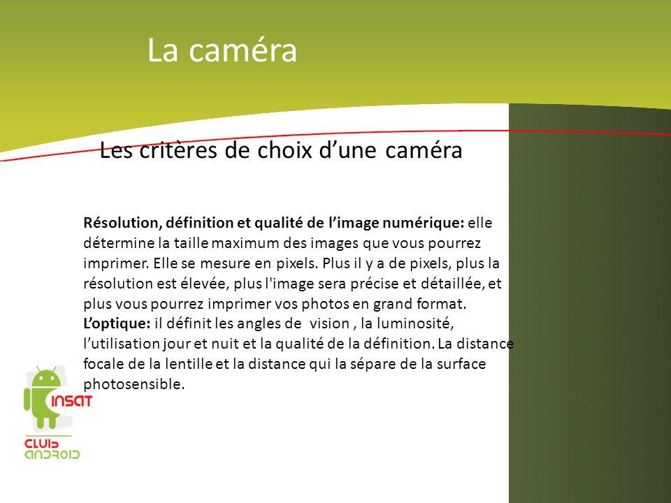 La caméra Les critères de choix d'une caméra