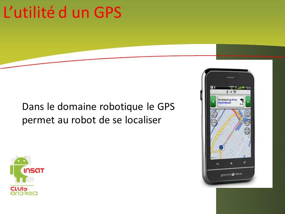 L'utilité d un GPS Dans le domaine robotique le GPS permet au robot de se localiser