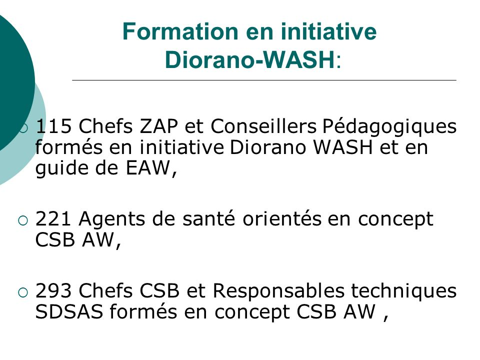 Formation en initiative Diorano-WASH: