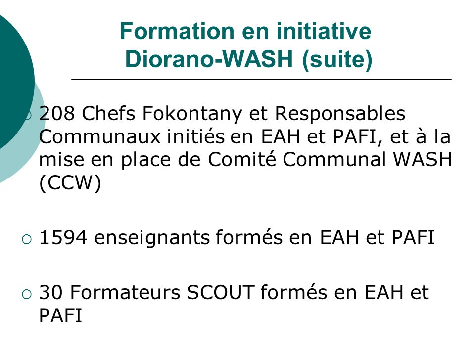 Formation en initiative Diorano-WASH (suite)