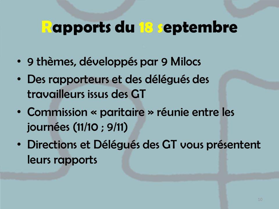 Rapports du 18 septembre 9 thèmes, développés par 9 Milocs