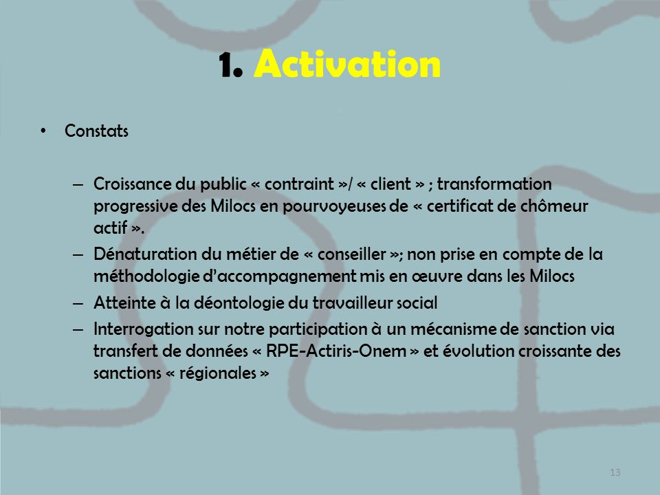 1. Activation Constats.