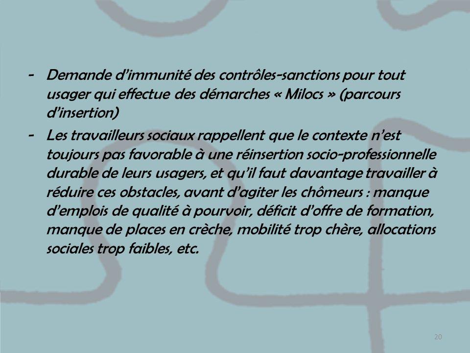 Demande d'immunité des contrôles-sanctions pour tout usager qui effectue des démarches « Milocs » (parcours d'insertion)