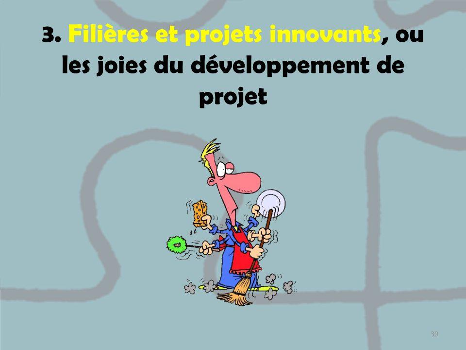 3. Filières et projets innovants, ou les joies du développement de projet
