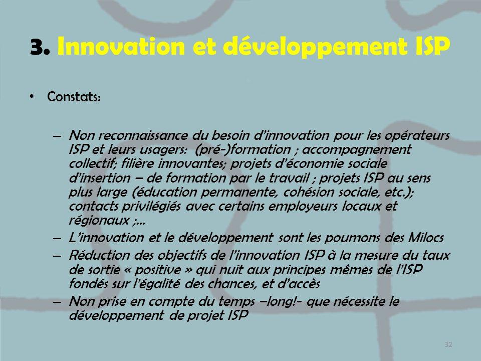 3. Innovation et développement ISP
