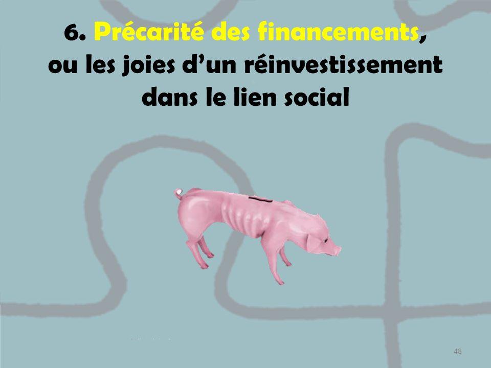 6. Précarité des financements, ou les joies d'un réinvestissement dans le lien social