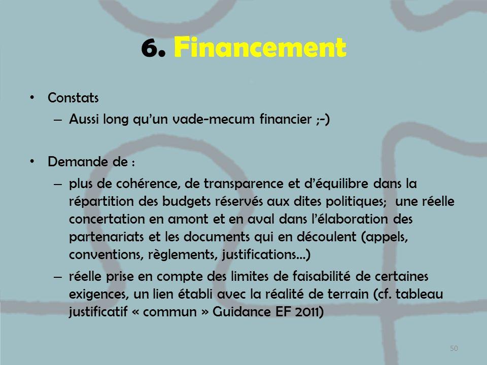 6. Financement Constats Aussi long qu'un vade-mecum financier ;-)