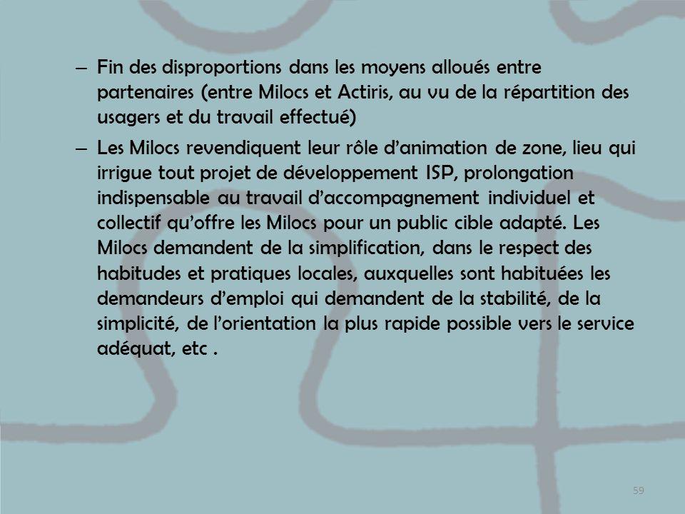 Fin des disproportions dans les moyens alloués entre partenaires (entre Milocs et Actiris, au vu de la répartition des usagers et du travail effectué)