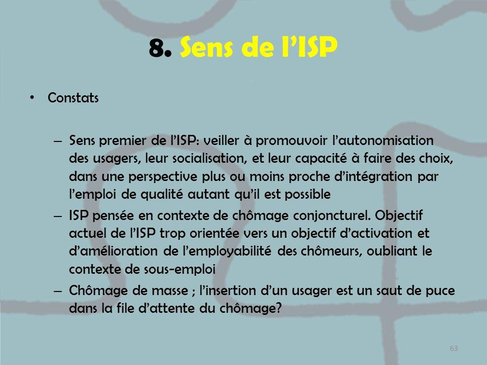 8. Sens de l'ISP Constats.