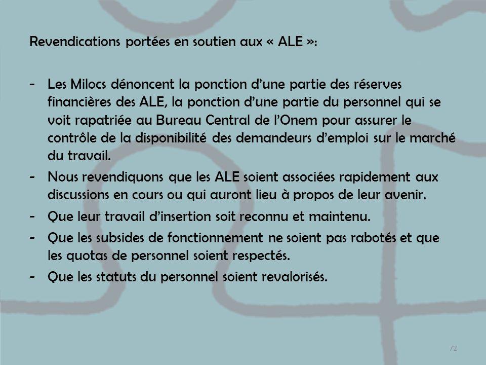 Revendications portées en soutien aux « ALE »: