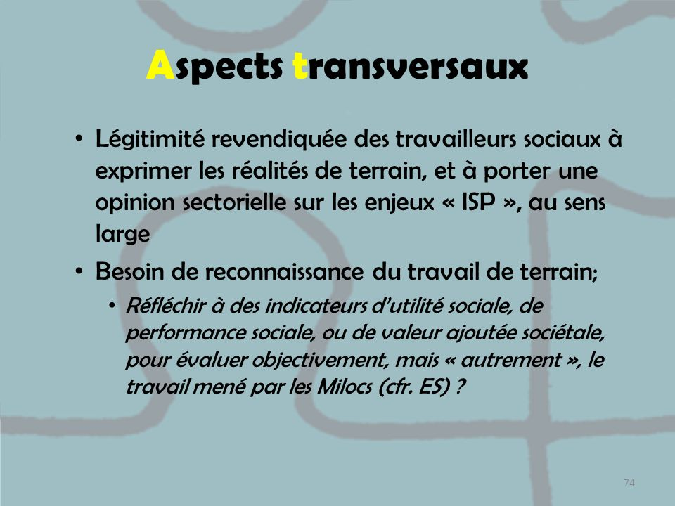 Aspects transversaux