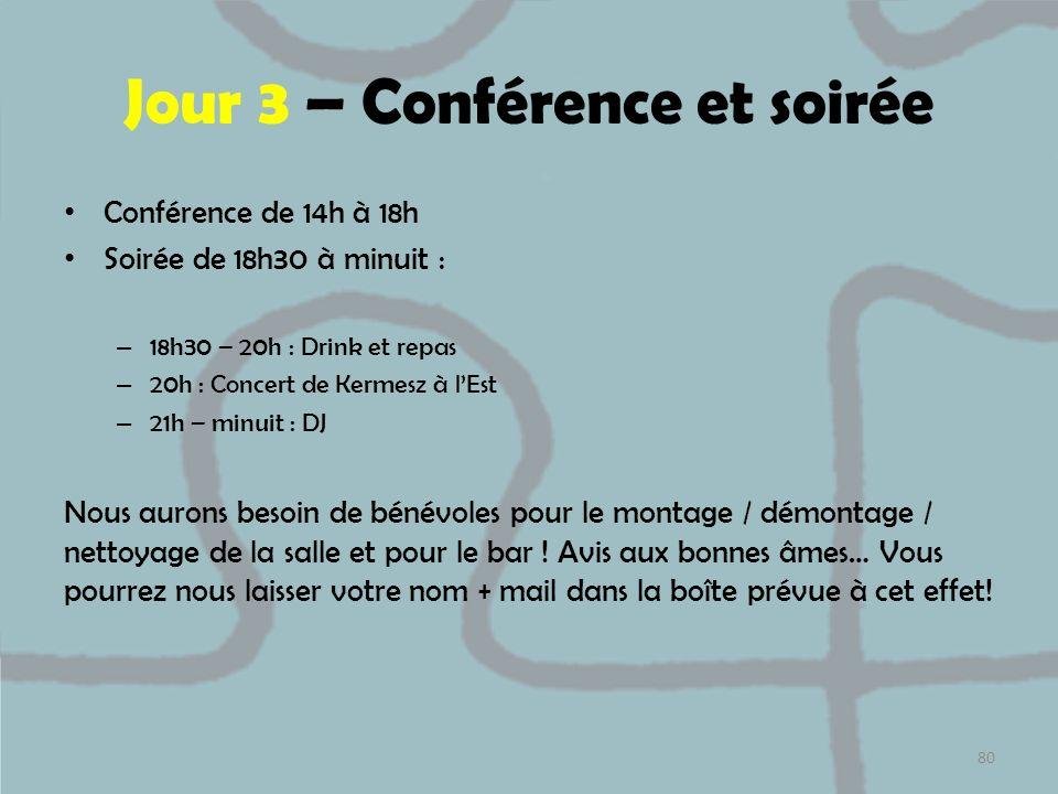 Jour 3 – Conférence et soirée
