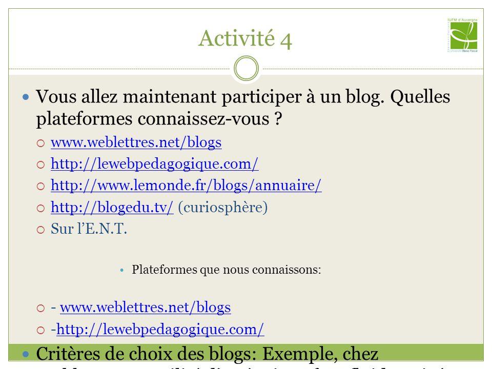 Activité 4 Vous allez maintenant participer à un blog. Quelles plateformes connaissez-vous www.weblettres.net/blogs.