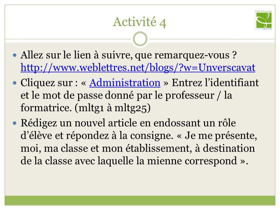 Activité 4 Allez sur le lien à suivre, que remarquez-vous http://www.weblettres.net/blogs/ w=Unverscavat.