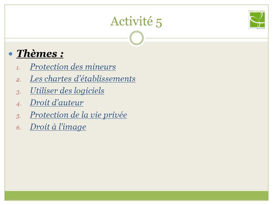 Activité 5 Thèmes : Protection des mineurs
