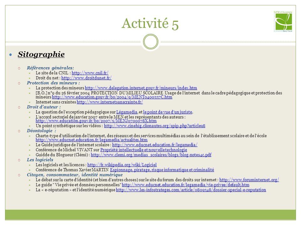 Activité 5 Sitographie Références générales:
