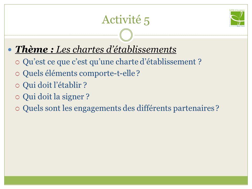 Activité 5 Thème : Les chartes d'établissements