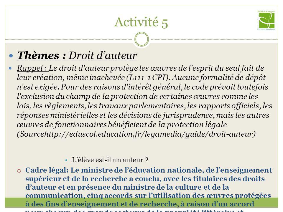 Activité 5 Thèmes : Droit d'auteur