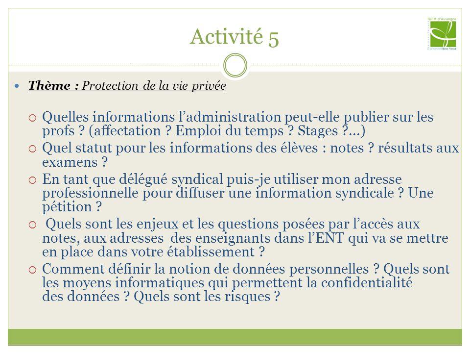 Activité 5 Thème : Protection de la vie privée.