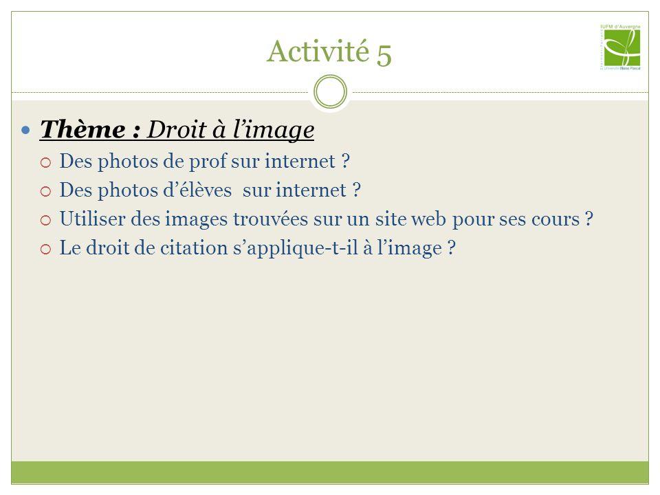 Activité 5 Thème : Droit à l'image Des photos de prof sur internet