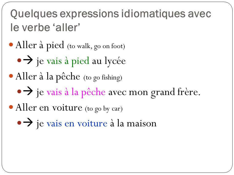 Quelques expressions idiomatiques avec le verbe 'aller'