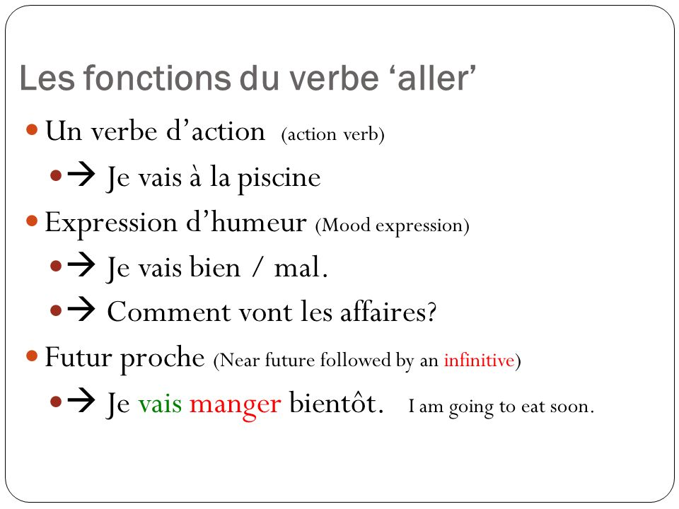 Les fonctions du verbe 'aller'