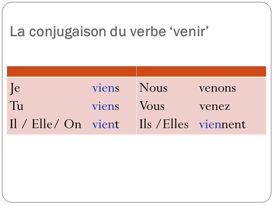 La conjugaison du verbe 'venir'