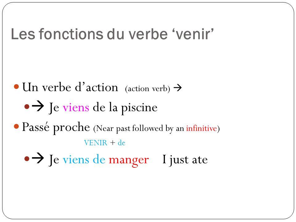 Les fonctions du verbe 'venir'