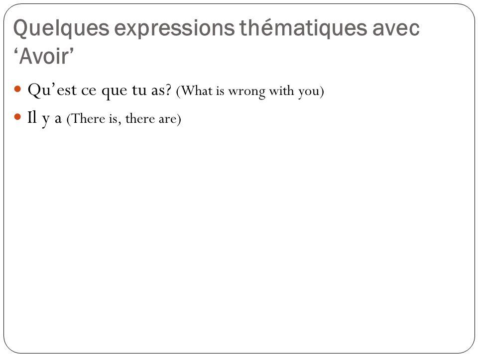 Quelques expressions thématiques avec 'Avoir'