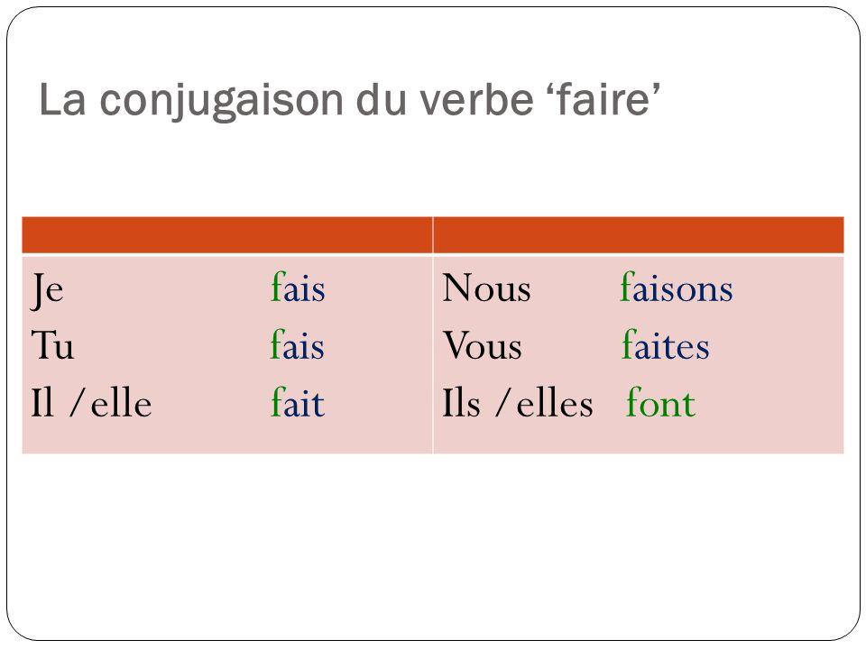 La conjugaison du verbe 'faire'