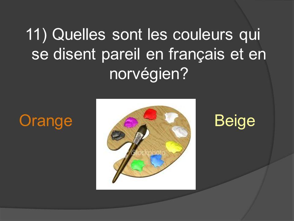 11) Quelles sont les couleurs qui se disent pareil en français et en norvégien Orange Beige