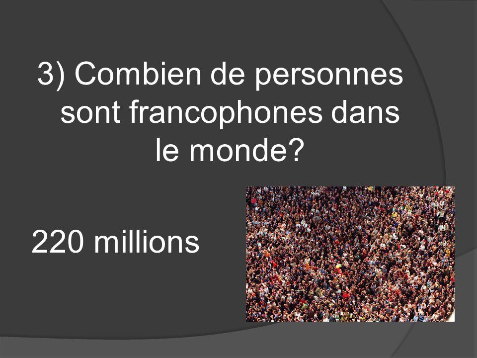 3) Combien de personnes sont francophones dans le monde 220 millions