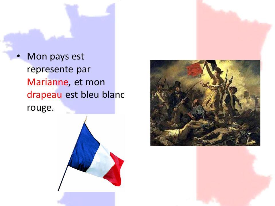 Mon pays est represente par Marianne, et mon drapeau est bleu blanc rouge.