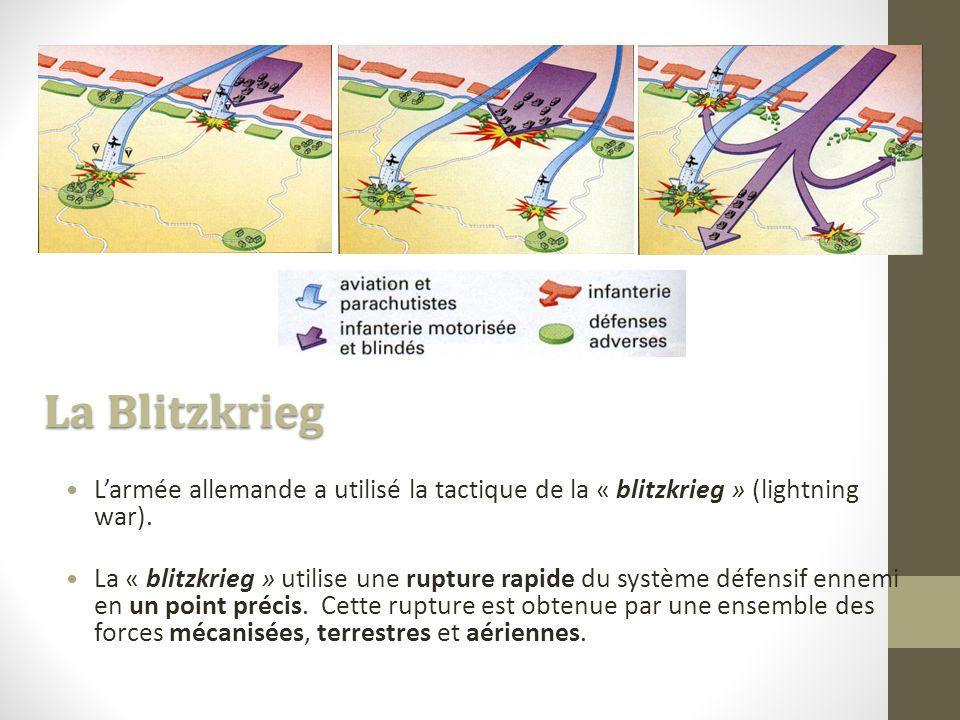 La Blitzkrieg L'armée allemande a utilisé la tactique de la « blitzkrieg » (lightning war).