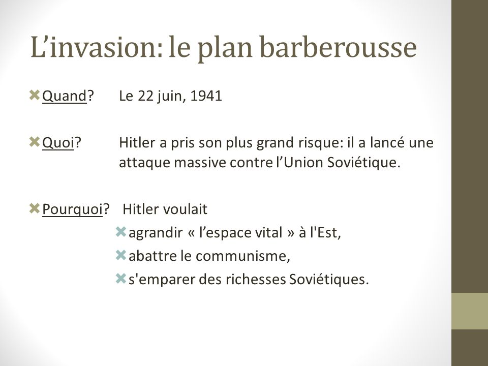 L'invasion: le plan barberousse