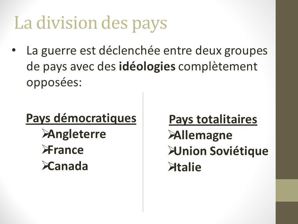 La division des pays La guerre est déclenchée entre deux groupes de pays avec des idéologies complètement opposées: