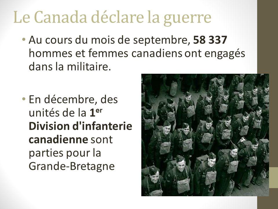 Le Canada déclare la guerre